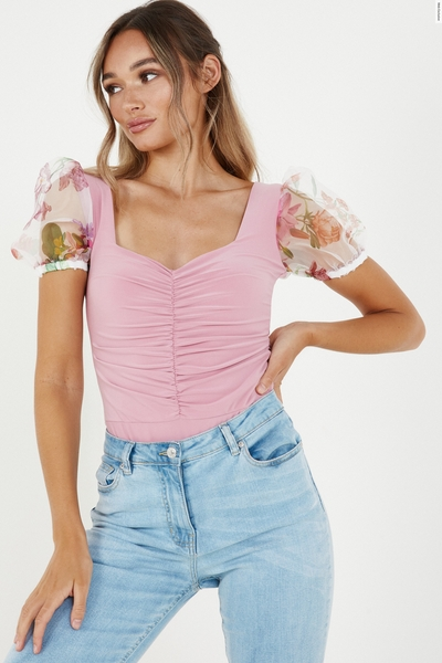 Pink Organza Sleeve Ruched Bodysuit